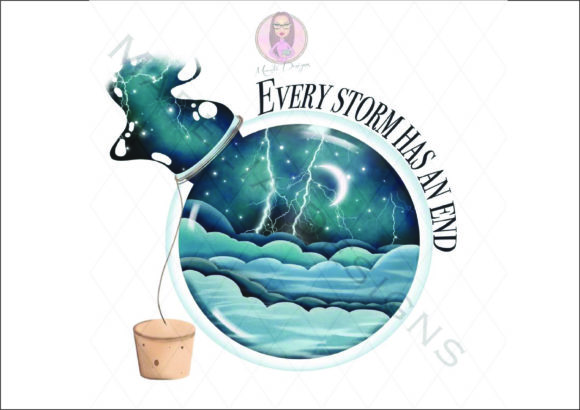 Every Storm in a Bottle Illustration Graphic Illustrations By Marelia Designs