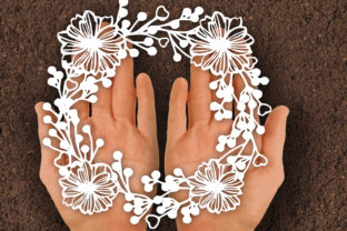Print on Demand: Flower Wreath Paper Cut SVG Graphic Print Templates By johanruartist
