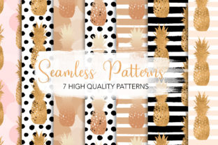 Print on Demand: Golden Pineapples Seamless Patterns Graphic Patterns By MutchiDesign