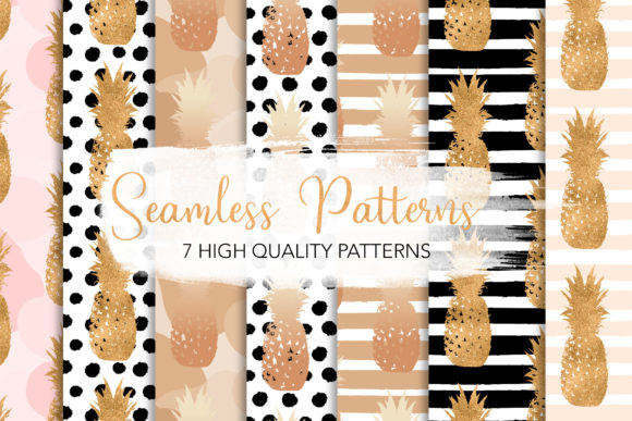 Print on Demand: Golden Pineapples Seamless Patterns Graphic Patterns By loyaarts