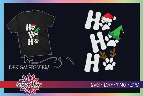 HO HO HO Pawprint Santa Hat Christmas Graphic Print Templates By ssflower
