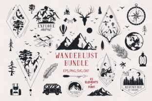 Hand Drawn Wanderlust Bundle Grafik Illustrationen von Kirill's Workshop