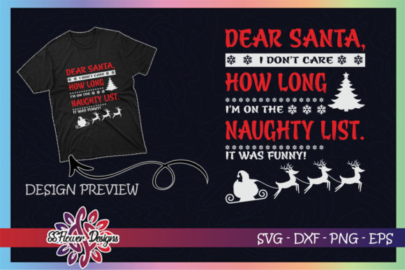 I'm on the Naughty List Funny Christmas Graphic Print Templates By ssflower