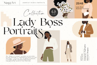 Lady Boss Woman Abstract Portraits Graphic Illustrations By NassyArt