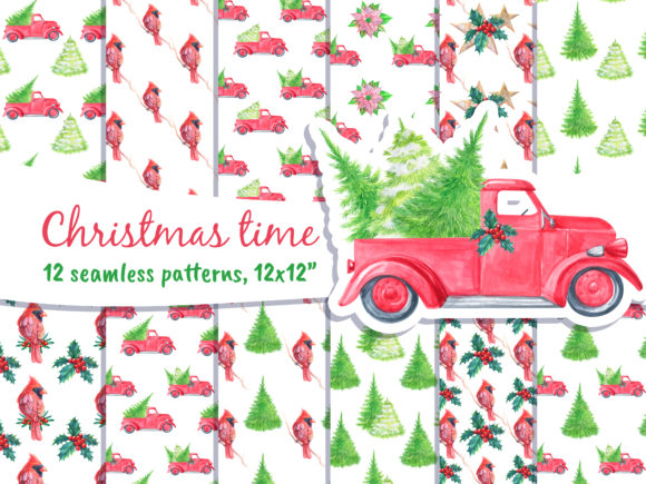 Merry Christmas Seamless Patterns Graphic Patterns By artpanda2018