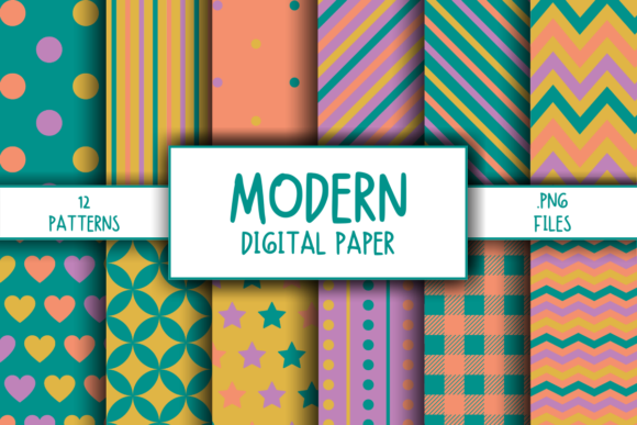 Print on Demand: Modern Pattern Digital Paper Gráfico Moldes Por atlasart