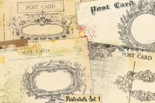 Print on Demand: Postcards Vintage Collage Set 1 Graphic Illustrations By LilBitDistressed