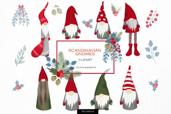 Scandinavian Gnomes Clipart Graphic Illustrations By HappyWatercolorShop