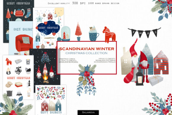 Scandinavian Winter. Big Collection. Graphic Illustrations By HappyWatercolorShop