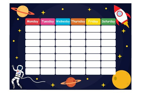 Print on Demand: School Timetable with Outer Space Theme Graphic Illustrations By Redvy Creative
