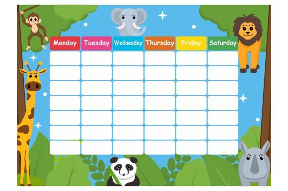 Print on Demand: School Timetable with the Zoo Theme Graphic Illustrations By Redvy Creative