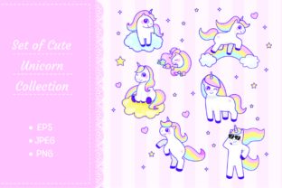 Set of Cute Unicorn Graphic Illustrations By Big Barn Doodles