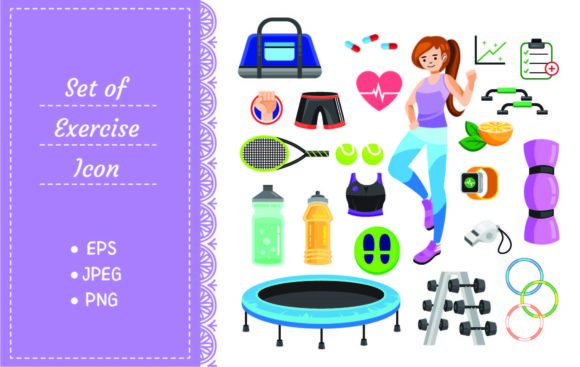 Set of Gym and Sport Equipment Graphic Illustrations By Big Barn Doodles
