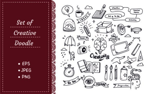 Set of Creativity Doodle Graphic Illustrations By Big Barn Doodles