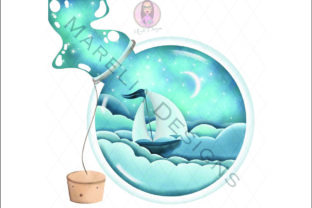Ship in a Bottle Illustration Graphic Illustrations By Marelia Designs
