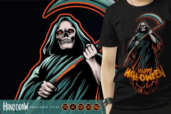 Skull Grim Reaper Halloween Pumpkins Graphic Illustrations By artgrarisstudio