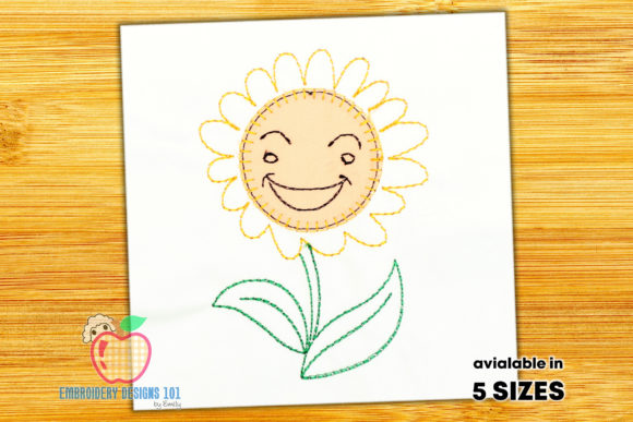 Smiling Face of the Sunflower Single Flowers & Plants Embroidery Design By embroiderydesigns101