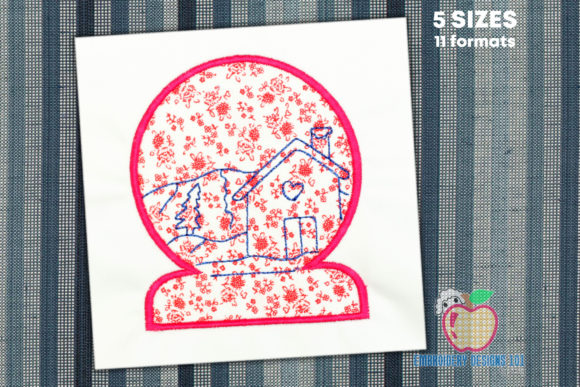 Snowglobe Has a House Inside Applique Winter Embroidery Design By embroiderydesigns101