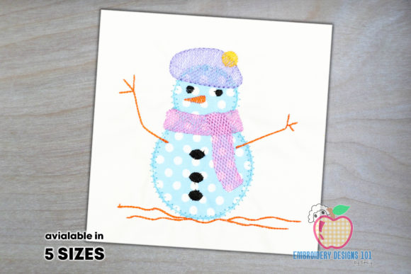 Snowman with a Pink Scarf Winter Embroidery Design By embroiderydesigns101