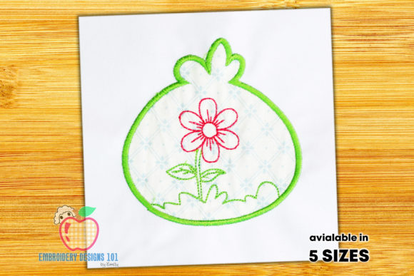 Spring Flower Inside the Round Applique Single Flowers & Plants Embroidery Design By embroiderydesigns101