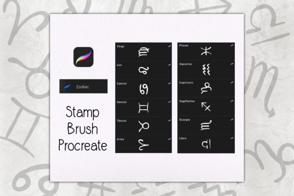 Stamp Brush Procreate | Zodiac Graphic Brushes By TakeNoteDesign