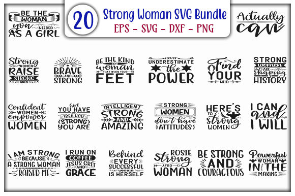 Print on Demand: Strong Woman SVG Design Bundle Graphic Print Templates By GraphicsBooth