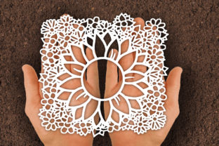 Print on Demand: Sunflower Papercut SVG Graphic Print Templates By johanruartist