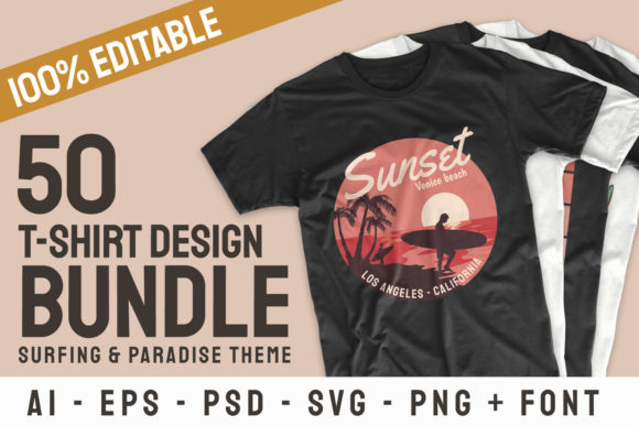 Print on Demand: Surfing Paradise T-shirt Designs Bundle Graphic Print Templates By Universtock