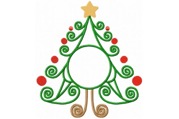 Swirly Christmas Tree Mono Embroidery