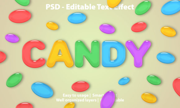 Text Effect Candy Premium Graphic