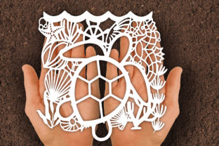 Print on Demand: Turtle Underwater Papercut SVG Graphic Print Templates By johanruartist