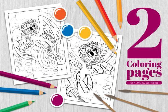 Unicorn Coloring Page Graphic Coloring Pages & Books By Euphoria Design