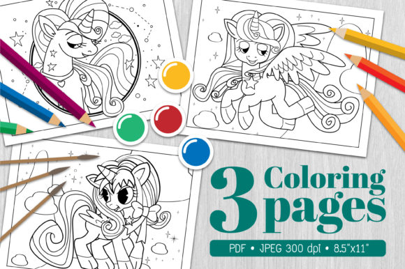 Unicorn Coloring Page11 Graphic Coloring Pages & Books By Euphoria Design