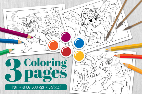 Unicorn Coloring Page19 Graphic Coloring Pages & Books By Euphoria Design