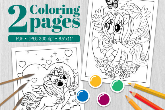 Unicorn Coloring Page4 Graphic Coloring Pages & Books By Euphoria Design