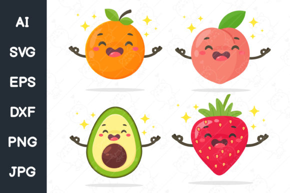 Print on Demand: Vector Cartoon Healthy Fruit. Svg File. Graphic Illustrations By CRStocker