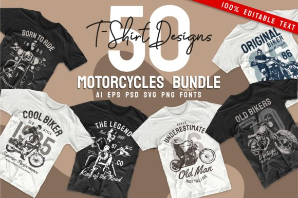 Print on Demand: Vintage Motorcycle T-shirt Design Bundle Graphic Print Templates By Universtock