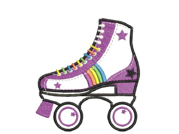 Vintage Roller-Skater Aplique Accessories Embroidery Design By carasembor
