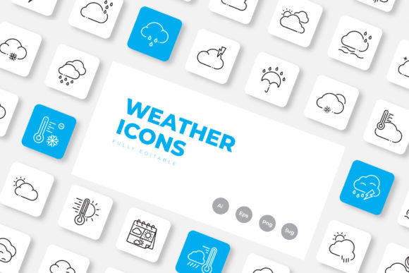 Print on Demand: Weather Icon Set Outline Graphic Icons By upnowgraphic