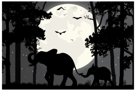 Print on Demand: Elephant Silhouette Graphic Illustrations By curutdesign