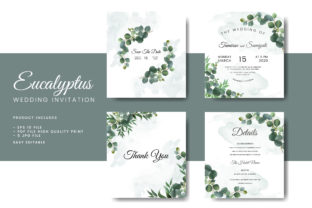 Eucalyptus Wedding Invitation Card Graphic Print Templates By hafidz.putra67