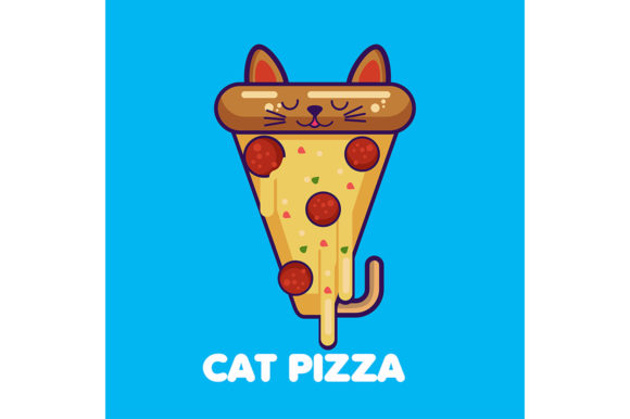Funny Pizza Slice with Cat Ears Graphic Illustrations By maniacvector
