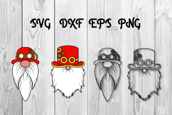 Print on Demand: Steampunk Gnomes Svg Cut Files Christmas Graphic Print Templates By dadan_pm