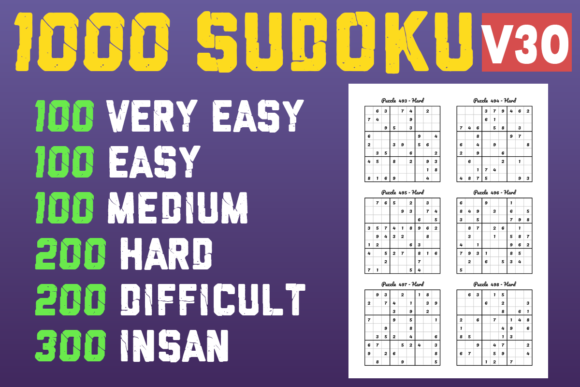 1000 Sudoku Puzzles with 6 Levels V30 Graphic KDP Interiors By BOPIXEL