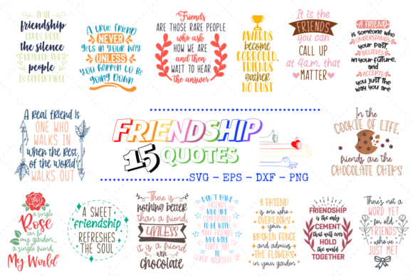 15 Friendship Quotes Bundle Graphic Crafts By Graphipedia