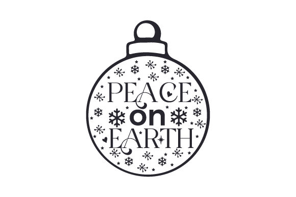 Floating Christmas Ornament Peace on Earth Cut File Download