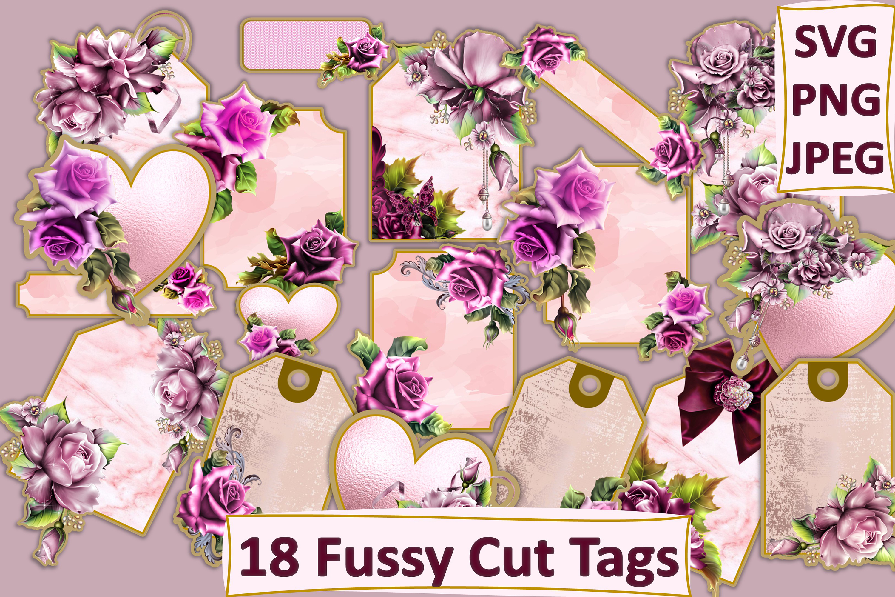 18 Fussy Cut Tags SVG PNG and... SVG File