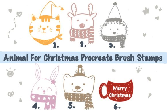 Animal for Christmas Procreate Brush Graphic Brushes By Temtemdesign
