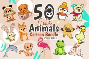 Print on Demand: Animals Clipart Cartoon Bundle Vector Graphic Illustrations By Universtock