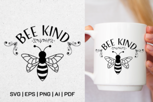 Print on Demand: Bee Kind   2 Files Black and White Graphic Illustrations By Pixtordesigns